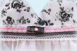 Платье в цветочек черно-белое